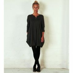 Grandad Shirt, Grey - you won''t believe the shape of this dress when it is displayed flat!