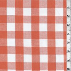 """DF#9142  Orange & White  Dress Weight Buffalo Plaid Check Stretch Fabric  Suitable for Blouses & Dresses  98% Cotton  2 % Lycra  55"""" wide  Machine Washable  Usually $10.00/yd  $4.95 per yard"""