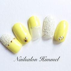 レモンイエロー&レースネイル♡