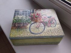 wooden box with decoupage-bike Decoupage Tins, Decoupage Wood, Decoupage Vintage, Wooden Crosses, Tissue Paper Flowers, Tea Box, Shell Crafts, Fabric Painting, Tole Painting
