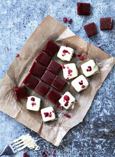 Raspberry Toffee Dipped in White Chocolate. Nx