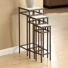 4D Concepts Slate Square Plant Stands with Travertine Tops - Set of 3