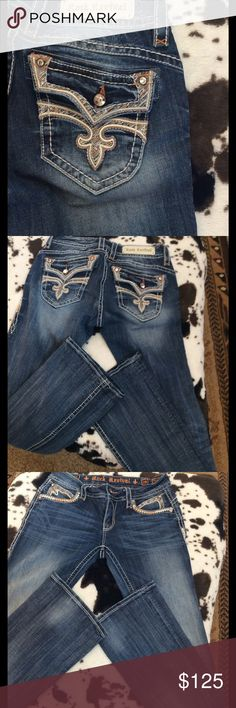 Rock Revival Stephanie boot jeans Like new very long. Size 29 inseam 36 Rock Revival Jeans Boot Cut
