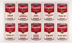 Campbell's Soup Series I by Andy Warhol. The Warhol Campbell's Soup Can Series changed the course of Art forever, by combining commercialism with high art. Andy Warhol Obra, Art Andy Warhol, Andy Warhol Soup Cans, Andy Warhol Marilyn, Frank Stella, Jeff Koons, Green Pea Soup, Black Bean Noodles, Art Deco