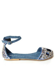 Blue bead embellished flats Sale - Park Lane