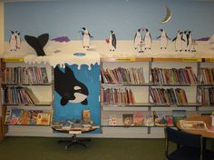 Penguin and whale display. Middle School Libraries, Elementary School Library, Future Library, Library Wall, Library Bulletin Boards, Bulletin Board Display, Library Displays, Book Displays, Classroom Displays