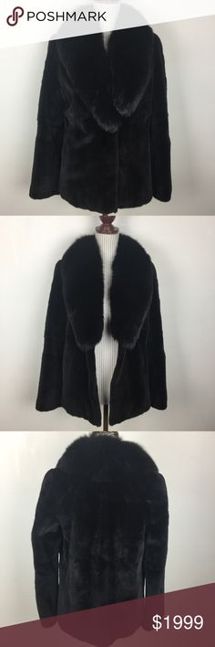 "🆕100% Authentic Mink Fur Black Coat Worn only once. Incredible. My friend's sister received this as a gift and has since become vegetarian. Excellent, like new condition. Fluffy collar and slight scalloped pattern on top part as seen in picture. Side pockets and two very secure hook closures. Flawless. Anything over $500 Posh will authenticate the purchase. Bust about 36"", length 26"", sleeve length shoulder to hem about 24.5"" , shoulder to shoulder about 31"". Maximo Luciano Jackets & Coats"