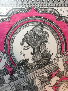 Kalamkari inspired Hindu Goddess Saraswathi. Goddess Saraswati is the goddess of knowledge, music, arts, wisdom and learning. In her hands she holds a book, rosary/garland and is seen playing the musical instrument veena .seated on a swan. This drawing is kalamkari inspired - which