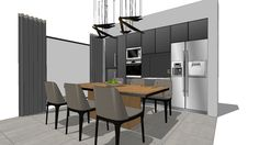 Large preview of 3D Model of dining room modern brown