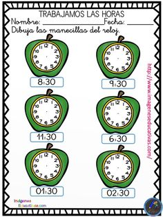 Nuevas fichas originales para trabajar las horas con relojes analógicos. - Imagenes Educativas Preschool Worksheets, Activities For Kids, Clock For Kids, 1st Grade Math, Telling Time, Kids Education, Mathematics, Homeschool, Maths