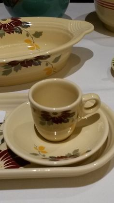 :D❤️~New???~~ Fiesta® Dinnerware Claret Clematis A.D. Demitasse Cup and Saucer. HLCCA Conference Banquet 2017.
