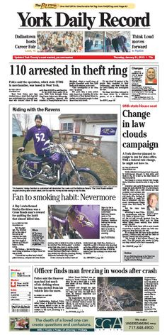 York Daily Record front page for Thursday, Jan. 31