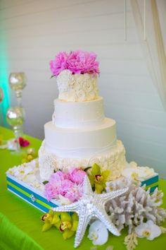 Seaside Inspired Wedding Cake by Sweet Cheeks Baking Company