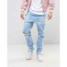 ASOS Drop Crotch Stacked Jeans With Rips In Bleach Wash ($53) ❤ liked on Polyvore featuring men's fashion, men's clothing, men's jeans, bleached distressed jeans, ripped jeans, destroyed jeans, bleached ripped jeans and asos jeans