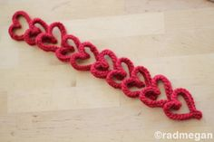 "Knitting Fork Project: Easy Knitted Hearts~ ""Last week, I set out to make a Valentine's Day craft using my handmade knitting fork. Turns out, knitting up hearts is a snap with this handy tool!"""