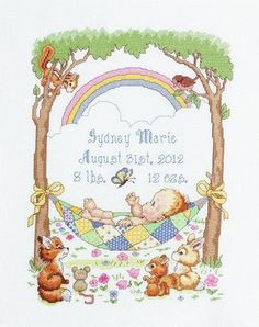 Birth Announcement Cross-stitch - the rainbow in this one is symbolic for me