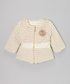 Take a look at this Ivory Flower Zip-Up Jacket - Toddler & Girls by Blossom Couture on #zulily today!