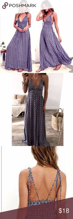 "Boho Violet Pattern Summer Dress Deep V Beautiful bohemian style halter maxi dress with a deep V. Fits me perfectly- I generally wear a M-L in dresses (4-6) and these are my measurements: Bust 36"" waist 29"" hips 39"" Cute for the last summer days Dresses Maxi"