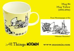 Moomin mug yellow by Arabia Mug - Yellow Produced: Illustrated by Tove Jansson and Tove Slotte and manufactured by Arabia Th. Moomin Mugs, Tove Jansson, Finland, History, Yellow, Tableware, Illustration, Universe, Collection