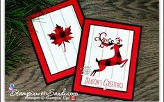 pair of handmade Christmas cards by Sandy MacIver . luv the use Buffalo Check stamped in black on red and then die cut (Dashing Deer and a maple leaf) for focal elements . Christmas Cards 2018, Homemade Christmas Cards, Stampin Up Christmas, Handmade Christmas, Holiday Cards, Christmas Diy, Happy Holidays Cards, Merry Christmas, Christmas Animals