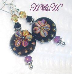 Black Floral Lampwork Earrings Black and by hhjewelrydesigns, $36.00