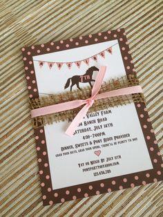 DIY Printable Pony Party Invitation Vintage Style, Shabby Chic - pony invite. $18.00, via Etsy.