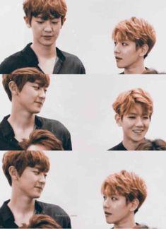 best feeling is when you look at him but he's already looking at you ❤️ Chanbaek Fanart, Exo Chanbaek, Baekhyun Chanyeol, Exo Ot12, Exo Couple, Kpop Couples, Xiu Min, Exo Memes, Monsta X