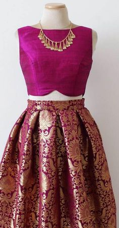 Real magnificence will come out of your dressing style with this dark pink brocade a-line lehenga. This lehenga is beautified with matching choli and dupatta. Add this timeless ethnic beauty to your wardrobe! Lehenga Designs, Saree Blouse Designs, Brocade Blouse Designs, Indian Attire, Indian Wear, Bride Indian, Saris, Silk Sarees, Brocade Lehenga