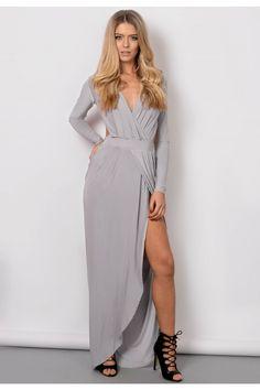 Prudence Grey Slinky Gathered Goddess Maxi Dress - Womens Celebrity nspired Dresses | South Avenue