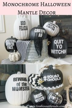 Black and White Hall Black and White Halloween Mantle Decor - Treehouse Threads Funny pumpkin puns monochrome chic DIY easy party skulls bats fireplace free printables silhouette Halloween Home Decor, Spooky Halloween, Holidays Halloween, Halloween Pumpkins, Halloween Crafts, Halloween Decorations, Halloween Party, Halloween 2018, Halloween Ideas