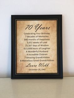 70th Birthday Gift Personalized Birthday Print Frame Included