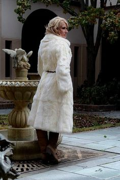 Rabbit Fur Coat Winter White Vintage 1960's Belted Luxurious Estate Offering http://www.rubylane.com/item/676693-CL198/Rabbit-Fur-Coat-Winter-White-Vintage