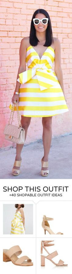 #summer #outfits Hue's That's Girl 💛 // White & Yellow Striped Mini Dress + Quilted Shoulder Bag