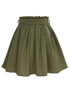 Olive Green Self Tie Button Front Circle Skirt : Olive Green Self Tie Button Front Circle Skirt Green Skater Skirt, Olive Green Skirt, Green Skirts, Casual Outfits, Cute Outfits, Fashion Outfits, Casual Skirts, Style Fashion, Jw Moda
