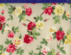 Yuwa Roses on Ivory AF666014E Cotton Fabric by agardenofroses, $15.00