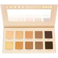 LORAC Unzipped Gold Shimmer and Matte Eye Shadow Palette, 6.3 oz. (295 DKK) ❤ liked on Polyvore featuring beauty products, makeup, eye makeup, eyeshadow, beauty, sombras, palette eyeshadow, lorac eyeshadow, lorac and lorac eye shadow