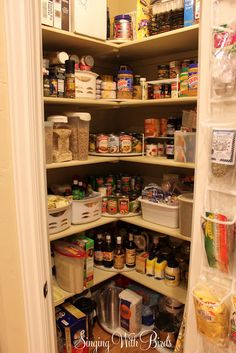 Awesomely organized pantry with lazy susan corners.