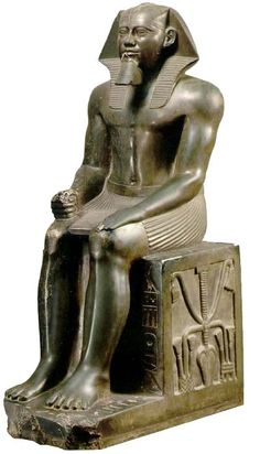 """Statue of Khafre from Giza, Old Kingdom, 3rd Millennium BC.Khafre Enthroned, from Gizeh  -ca. 2570 B.C.  -This image of Pharaoh Khafre was made after his death as a home for his spirit or """"ka"""". Also, it is important to note that this isn't a portrait but  a dream body  This sculpture was probably made to make Khafre a better physic then he had during his life. The stiff pose symbolizes his timeless reign as Pharaoh and ruler."""