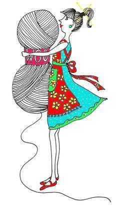 Illustration by Ingrid (ingthings) Knitting Quotes, Knitting Humor, Crochet Humor, Knitting Yarn, Knitting Projects, Crochet Projects, Knitting Patterns, Knit Art, Crochet Art