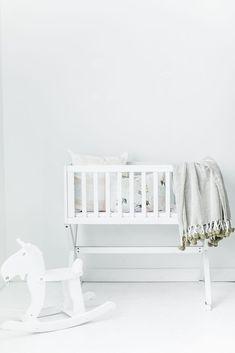 Herringbone PomPom Throw - Soft Sage  soft baby blanket, modern nursery