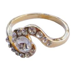 Golden curved ring with shining crystal  http://enewmall.com/women-rings/