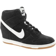 Nike Dunk Sky High Black Wedge Trainers (135 AUD) ❤ liked on Polyvore featuring shoes, sneakers, nike, chaussures, lace up shoes, studded lace-up wedge sneakers, black sneakers, lace up sneakers and hidden wedge sneakers