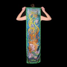 Silk scarf Hand painted steampunk  art nouveau silk by SilkaShop