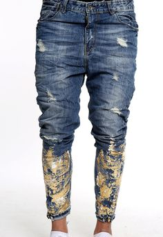 handmade gold and blue jeans