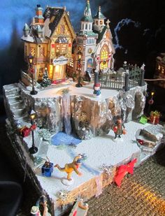 Christmas Village with Waterfall