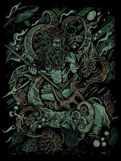"""""""Kraken Battle"""" print by Derrick Castle"""