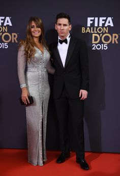 Leo Messi with wife (FIFA Ballon d'Or 2015)