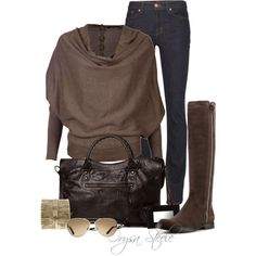 A fashion look from August 2012 featuring AllSaints sweaters, J Brand jeans and Miu Miu boots. Browse and shop related looks.
