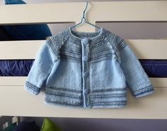 Blue baby cardigan handknit sweater fit boy to 6 by SnuggleBubs