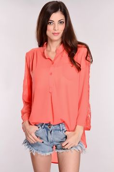 e8254640f6697 Coral High Low Hem Top   Sexy Clubwear